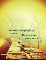 We don't meet people by accident they cross our paths for a reason